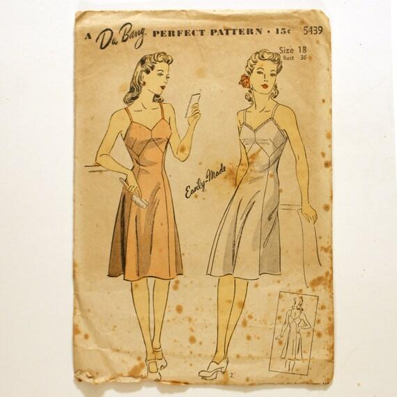 DuBarry 5439 Misses 1940s Slip Pattern Bust 36 Lingerie Petticoat Vintage Sewing Pattern
