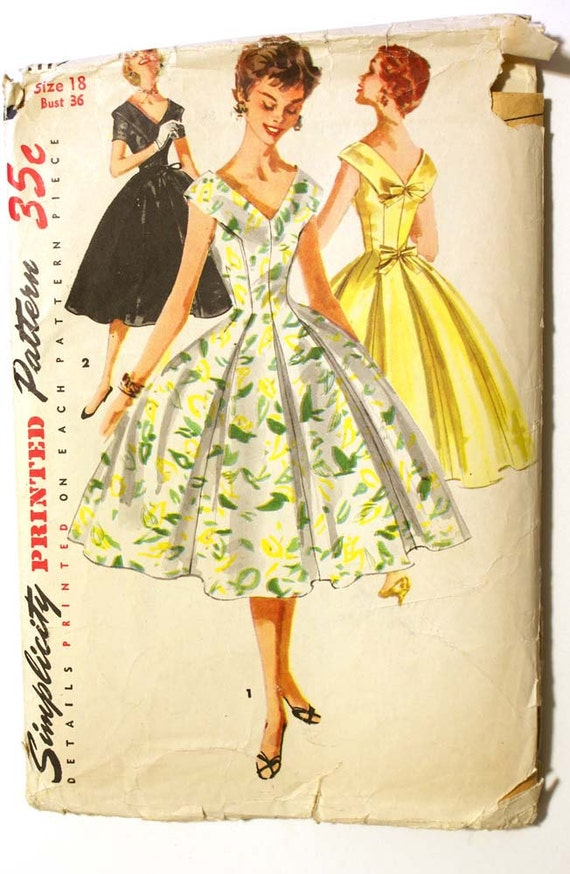 Vintage 1950s Full Dress Pattern Bust 36 Simplicity 1119