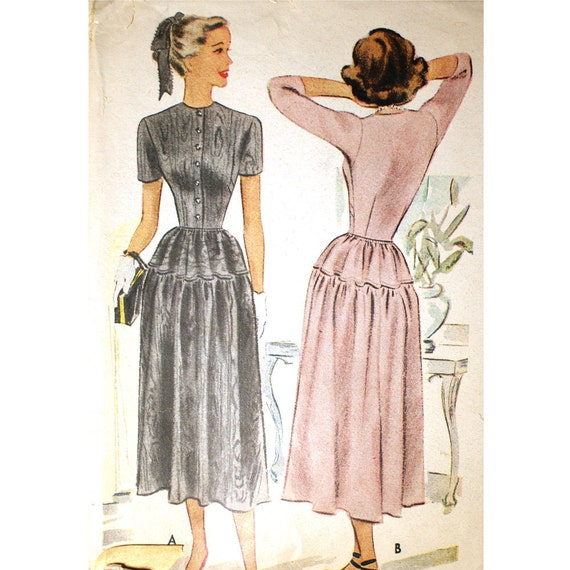 McCall 7083 Misses 1940s Yoked Dress Pattern Bust 35 Shirtwaist Buttoned Bodice High Round Neckline Vintage Sewing Pattern