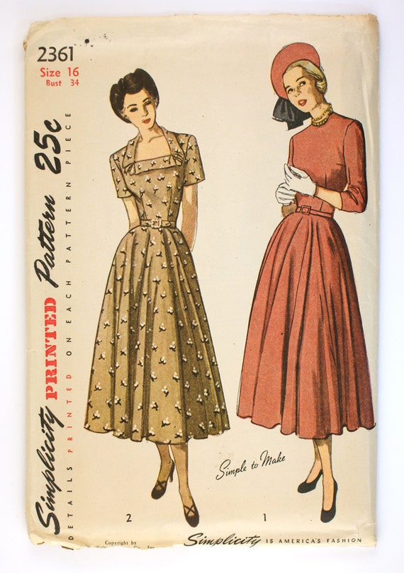 Ff 1940s Dress Pattern Full Circle Skirt Simplicity 2361 Bust