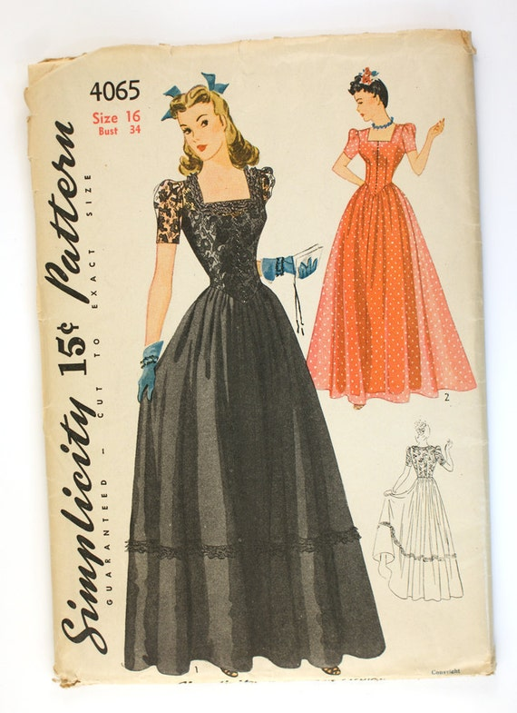 Simplicity 4065 Misses 1940s Evening Gown Pattern Bust 34 UNCUT Basque Waist Full Dress Square Neckline Womens Vintage Pattern