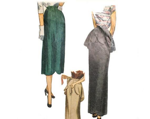 Simplicity 3045 Misses 1940s Skirt Pattern Waist 26 Peplum Slim Skirt 40s Vintage Sewing Pattern