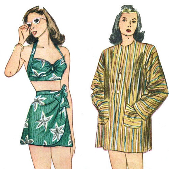 Simplicity 1302 Misses 1940s Swimsuit Pattern Bust 34 Two Piece Sarong Bikini Vintage Sewing Pattern 40s Womens Swimwear