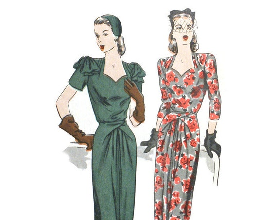 Vogue 5008 Misses 1940s Dress Pattern Bust 32 Draped Sweetheart Neckline Short or Three Quarter Sleeves UNCUT Vintage Sewing Pattern