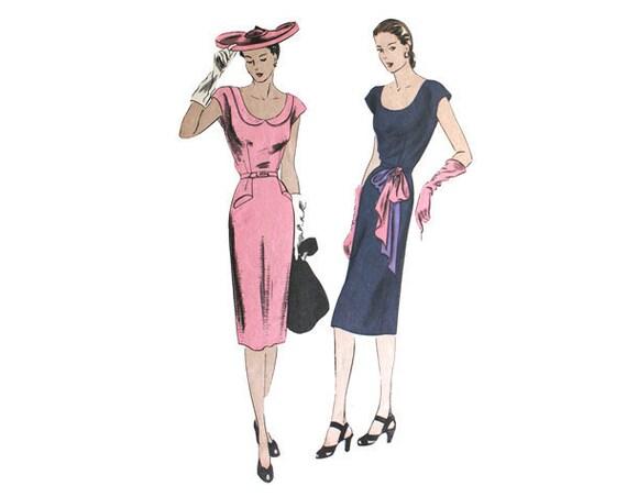 Vintage 1940s Slim Wiggle Dress Pattern Vogue 5104 Bust 34