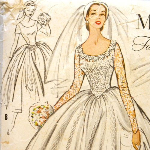 McCall's 9677 Misses 1950s Wedding Dress Pattern Bust 30