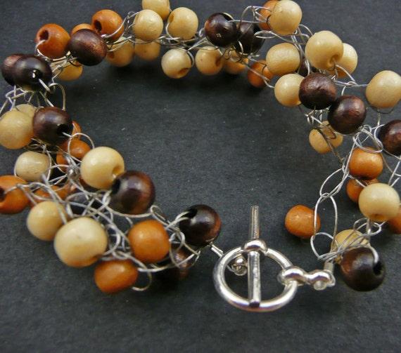 Wooden Crochet Bracelet