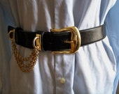 Vintage black leather belt with gold chain