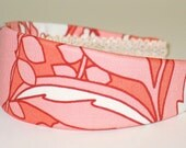 Fabric Covered Headband - Amy Butler DREAM POPPIES in TANGERINE, Wide Headband for Women or Girls