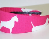 SALE-Fabric Covered Headband - Dogs in PINK, Wide Headband for Women or Girls