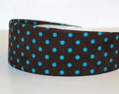 Fabric Covered Headband - Blue Polka Dots on Brown Corduroy, Wide Headband for Women or Girls