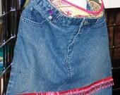 SALE - Hip OOAK Jean Bag - Girls Denim Skirt Bag with Amy Butler lining - HUGE Markdown