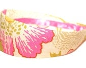 Fabric Covered Headband - Amy Butler's Fresh Poppies in Fuchsia, Wide Headband for Women or Girls