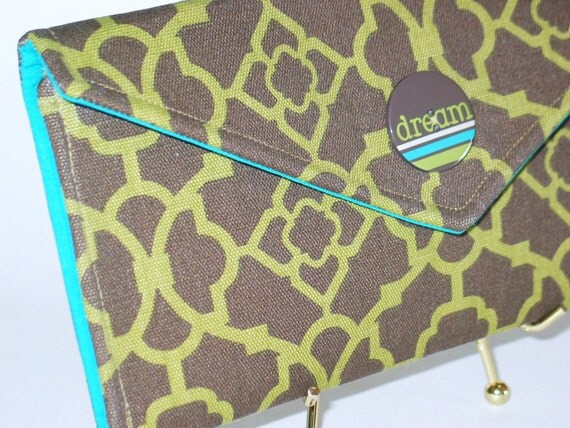 """SALE - OOAK Envelope Clutch - """"Dream"""" in Brown/Olive"""