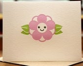 Kawaii Plum Blossom Letterpress Card