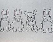 French Bulldog and Bunnies Letterpress Card