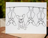 French Bulldog and Bats Letterpress Card