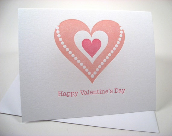 Pearls and Hearts - Letterpress Valentine Card
