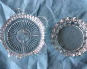Glass ash tray and dish depression era