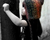 Hand Crocheted Youth Pixie Hat w/Flower