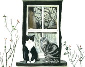 Cats on Windowsills Series Painting - Chester and Leroy by the Rose Bushes - CUSTOM SIZE