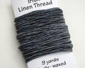 Waxed Irish Linen Thread - Grey - 9 yards