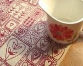 sweetheart - screenprinted fabric in plum on oatmeal