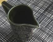 weave - screenprinted fabric in coal black on oatmeal