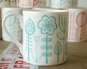 bloomsbury - bone china mug in soft turquoise - ONLY ONE LEFT