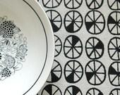 spokes - screenprinted fabric in coal black