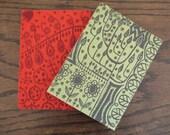 SALE - plantlife - hand printed sketchbook in cherry red felt