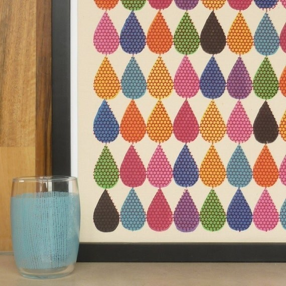 droplets - original multi coloured screenprint