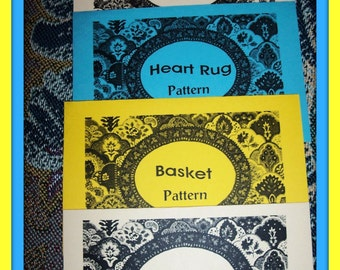 3 CROCHET RAG RUG PATTERNS OVAL,HEART,ROUND, 1 CROCHET BASKET PATTERN