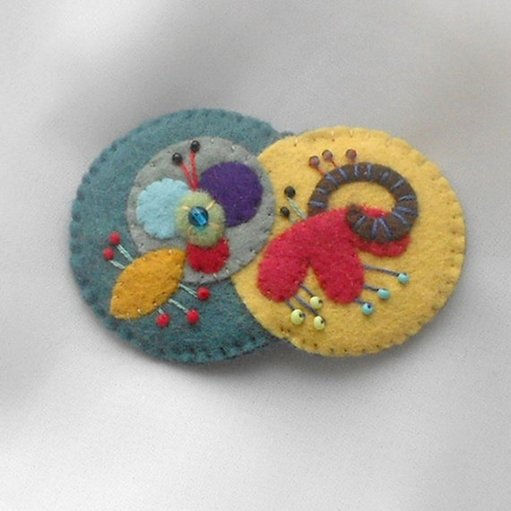 Felt Pin - Contemporary Flower  and Foliage in  Aqua, Red, Yellow Brown, Green, Blue, Purple  - Accessory Brooch