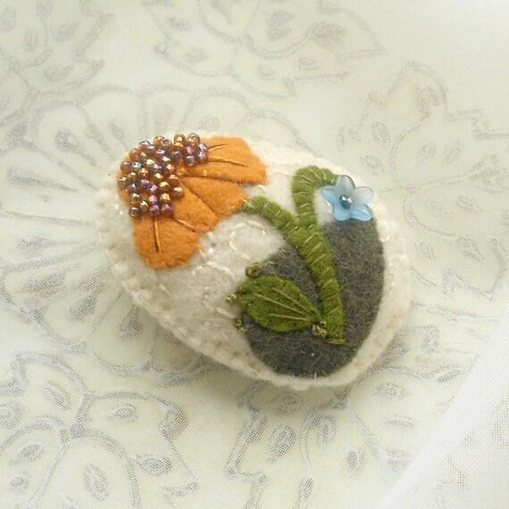 Felt  Flower Pin - Coneflower and Bluebell