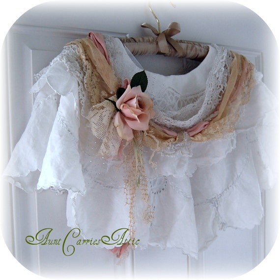 Reserved for Linda - Please do not Purchase - Second Payment - Steampunk Capelet Victorian Romantic Shabby White Vintage Linens Upcycled