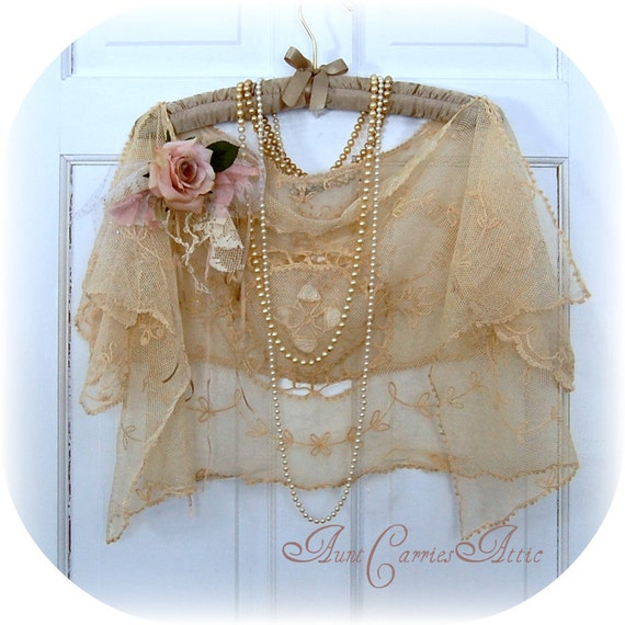 Downton Abbey Antique Lace Shrug Wrap  High Fashion Flapper Look Garden Party