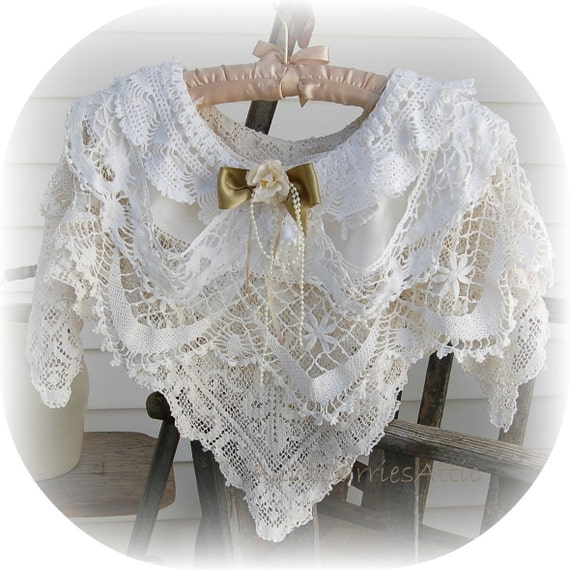 Lace Capelet Romantic Edwardian Repurposed Vintage Doilies
