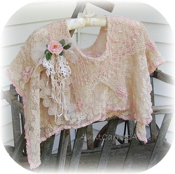 Romantic Prairie Shawl Wrap made from Vintage Dolly Kei Edwardian Boho Beach Wedding