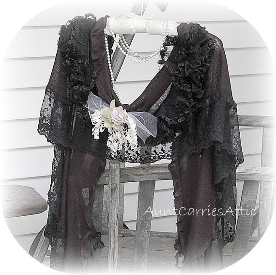Third  Payment for Kim -  Please Do Not Purchase - Gothic Victorian Lace Wrap Shawl  Antique Mourning Cape