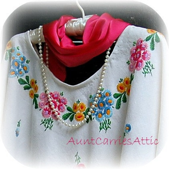 Resort Wear Beach Coverup Ponch Shawl Bright Colors made from Vintage