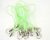 12 CELL PHONE STRAPS Zipper Pulls with Large 10mm Split Rings Med Green