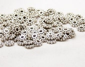 Bead Spacer 100 Antique Silver Flower Daisy 6.5mm Now NF (1020spa06s1)