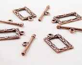 CLEARANCE Toggle Clasp 4 Antique Copper Rectangle Square Victorian 18mm NF (1033cla18c1)os