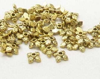 CLEARANCE Bead Cap 50 Antique Gold Color 4 Point Leaf 8mm x 2.5mm (1019cap08d1)os