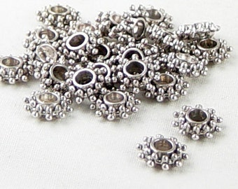 Bead Spacer 50 Antique Silver Daisy Flower Snowflake 9mm x 3mm Hole 2.5mm NF (1034spa09s1)xz