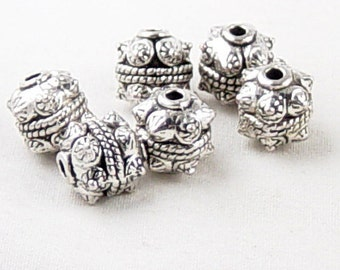 CLEARANCE Bead Spacer 10 Antique Silver Tube Barrel Victorian 10mm NF (1046spa10s1)os