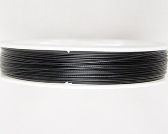 CLEARANCE Craft Wire 1 Spool Craft Artistic Wire Tiger Tail 0.38 thick, 70m long Jet Black (1012wir70-45)os