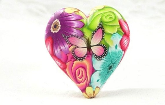 PUFFY HEART Focal BUTTERFLY Flower Polymer Clay Bead 1324