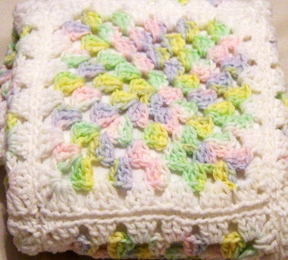 CLEARANCE Baby Blanket Hand Crochet White Ruffle Edging Flannel Back Pink Blue Yellow FREE Shipping